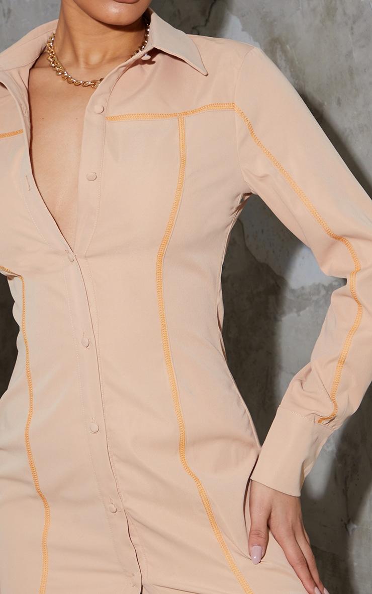 Stone Contrast Stitching Detail Button Up Shirt Dress 4