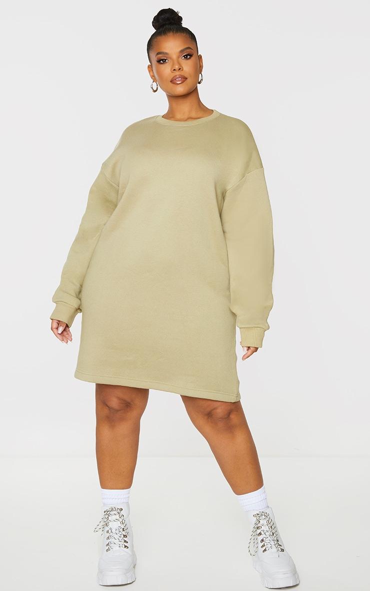 Plus Olive Basic Jersey Sweat Dress 3
