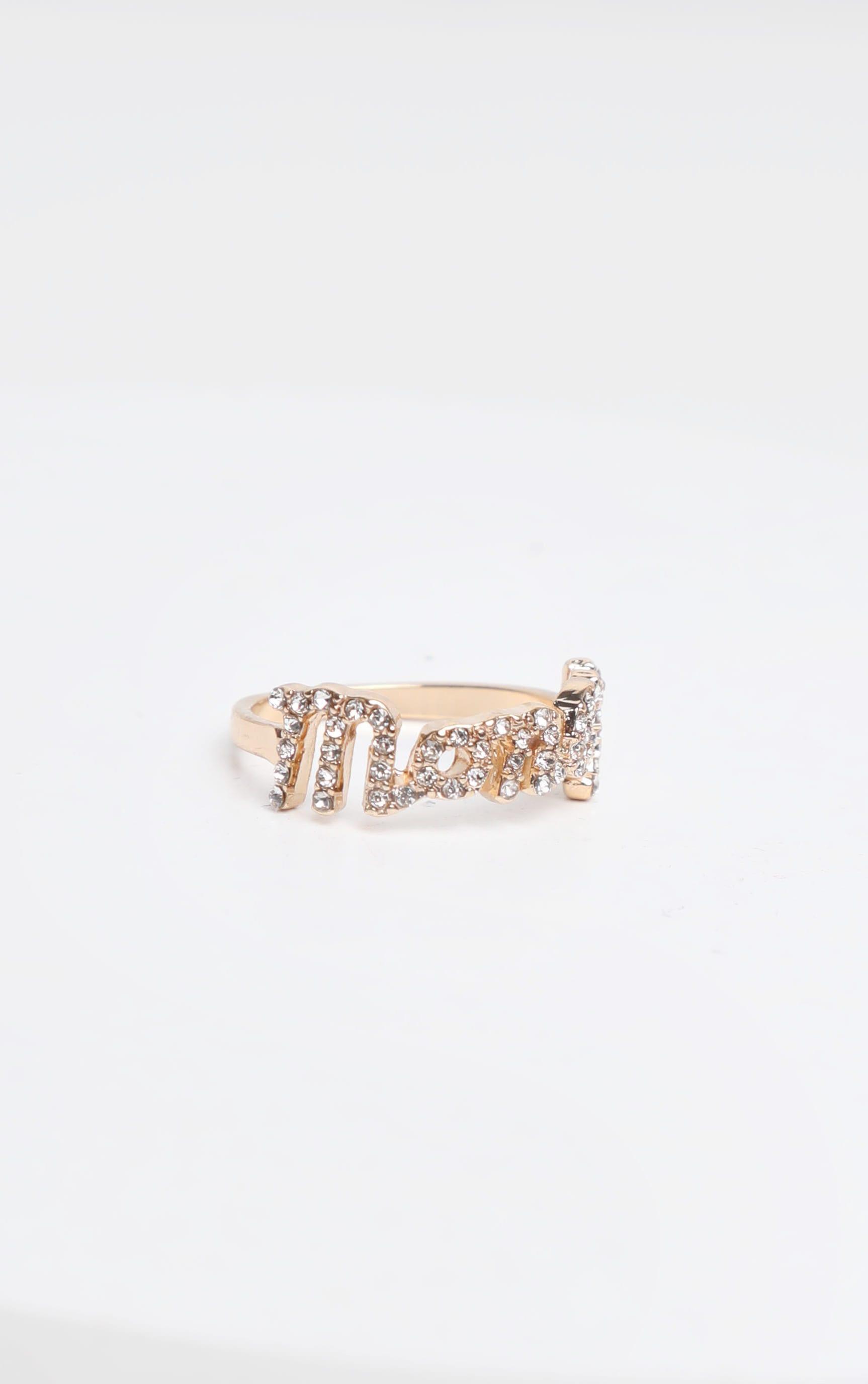 Gold Diamante Script Money Slogan Ring 2
