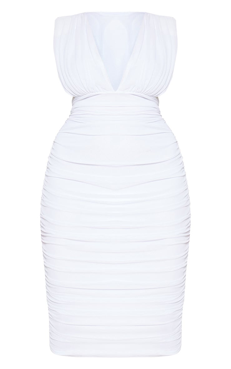 Plus White Ruched Plunge Midi Dress 3