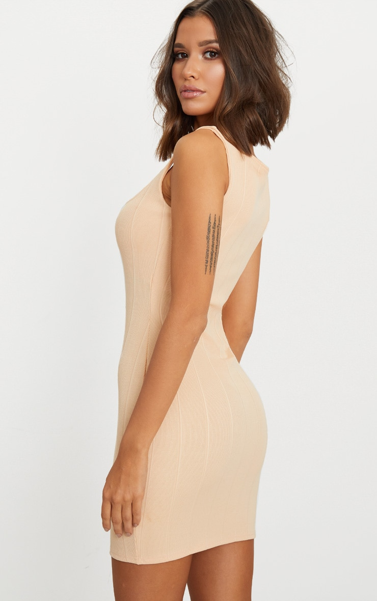 Nude Bandage Square Neck Bodycon Dress  2