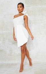 White Bonded Scuba Bow Shoulder Ruffle Bodycon Dress 3