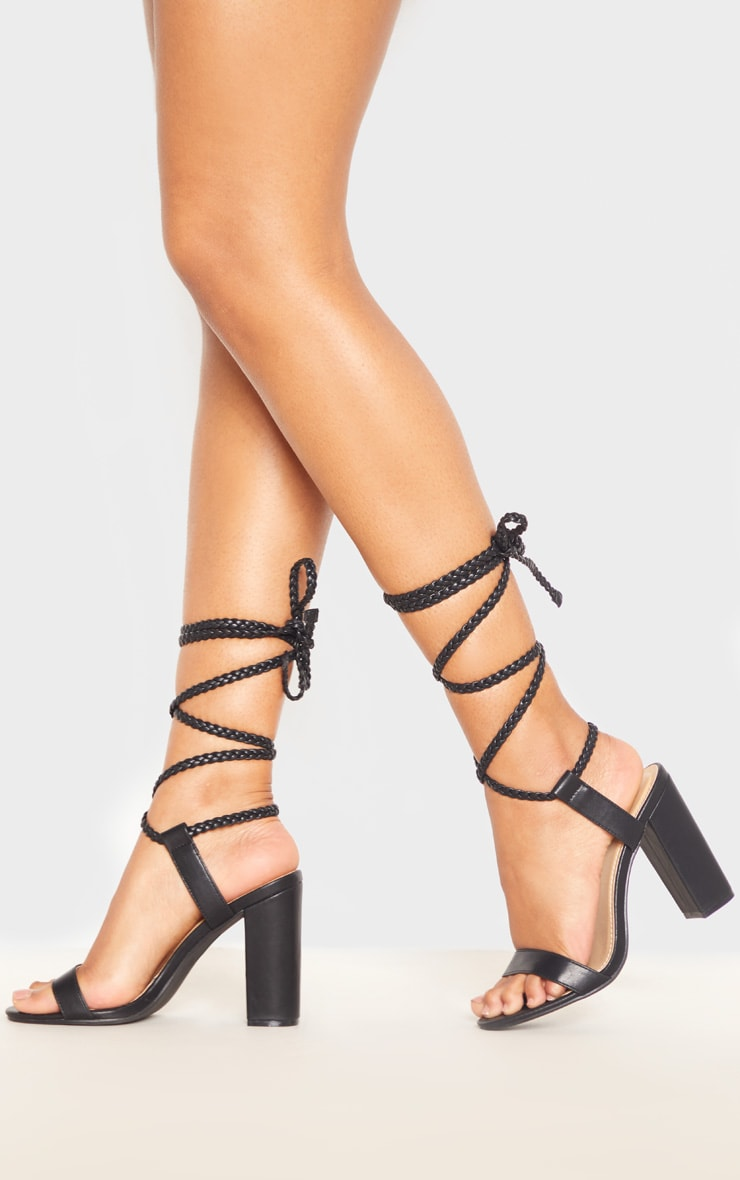 Black Plaited Ankle Tie Block Heel Sandal 1