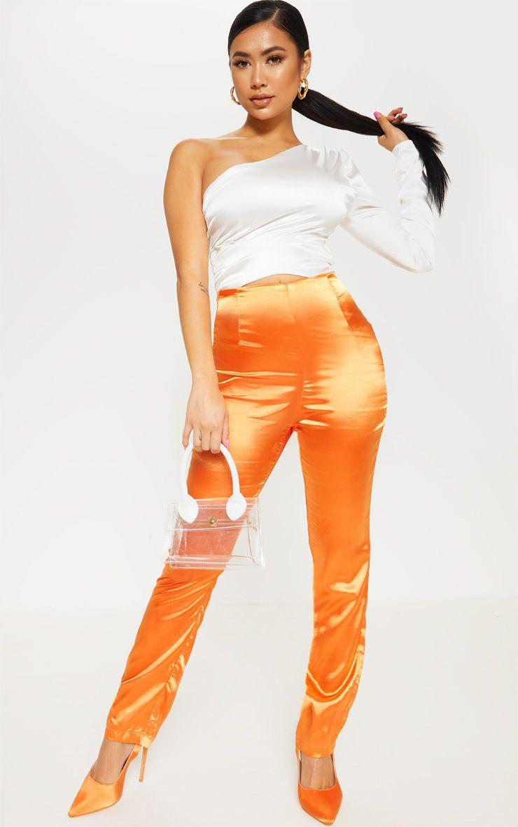 Petite Orange Straight Leg Satin Pants 1