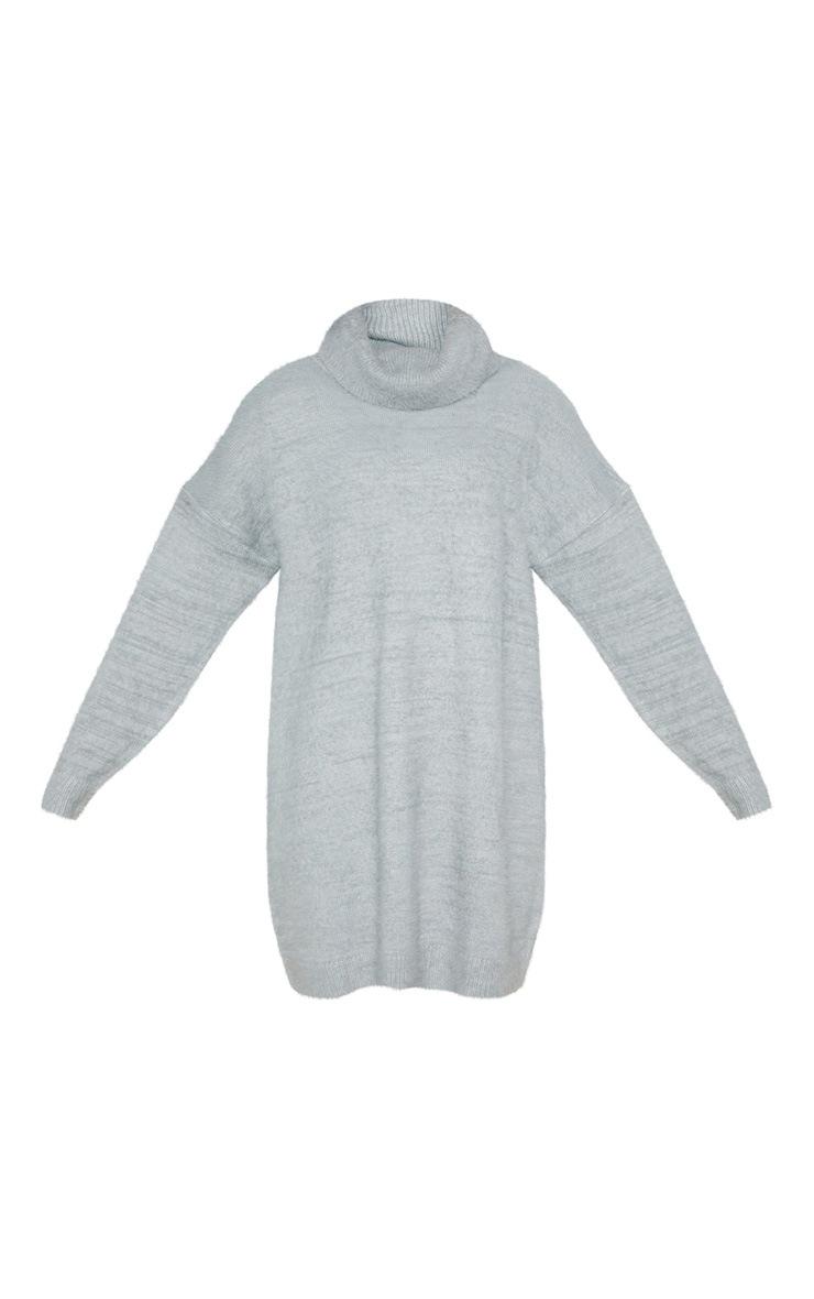 Light Grey Knitted High Neck Jumper Dress  3