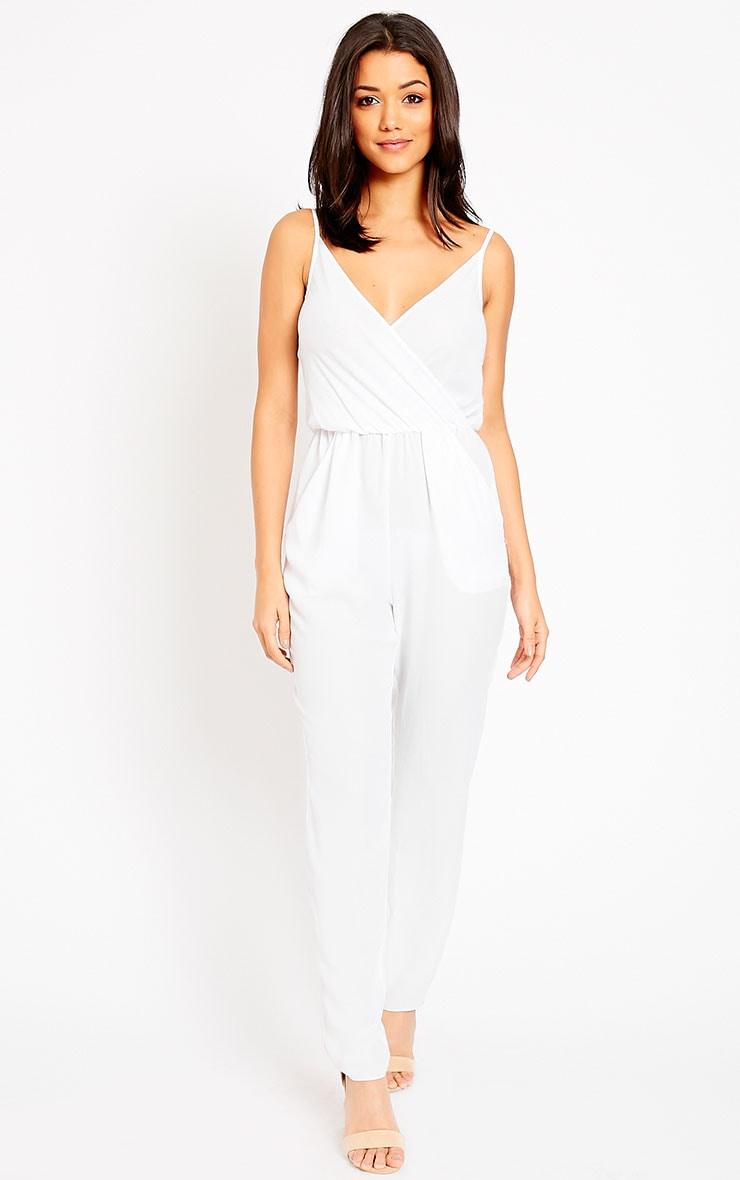 Jamelia White Wrap Front Jumpsuit 5