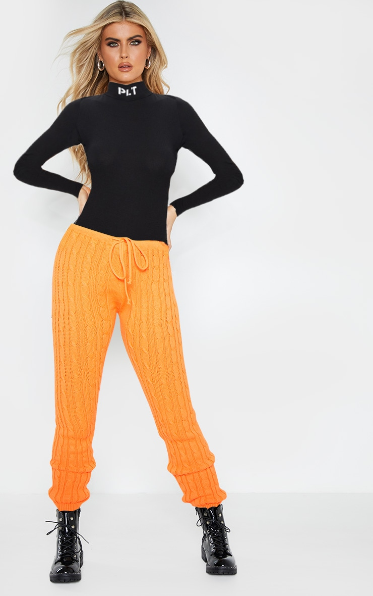 Bright Orange Cable Knit Jumper & Legging Set  2