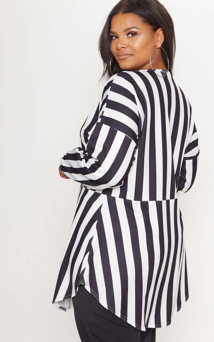 Plus Monochrome Striped  Print Tie Detail Floaty Top 2