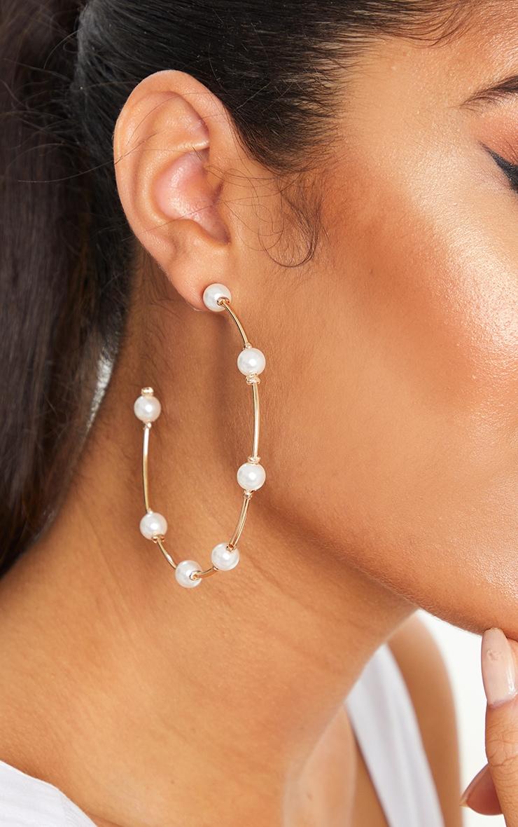 Gold Beaded White Pearl Hoop Earrings 1