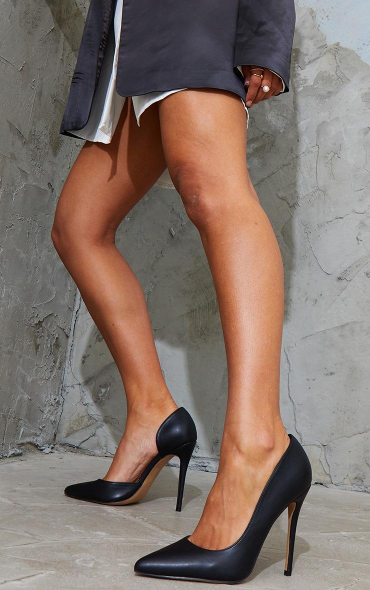 Black Point Toe Cut Out Side Stiletto Court Shoes 2