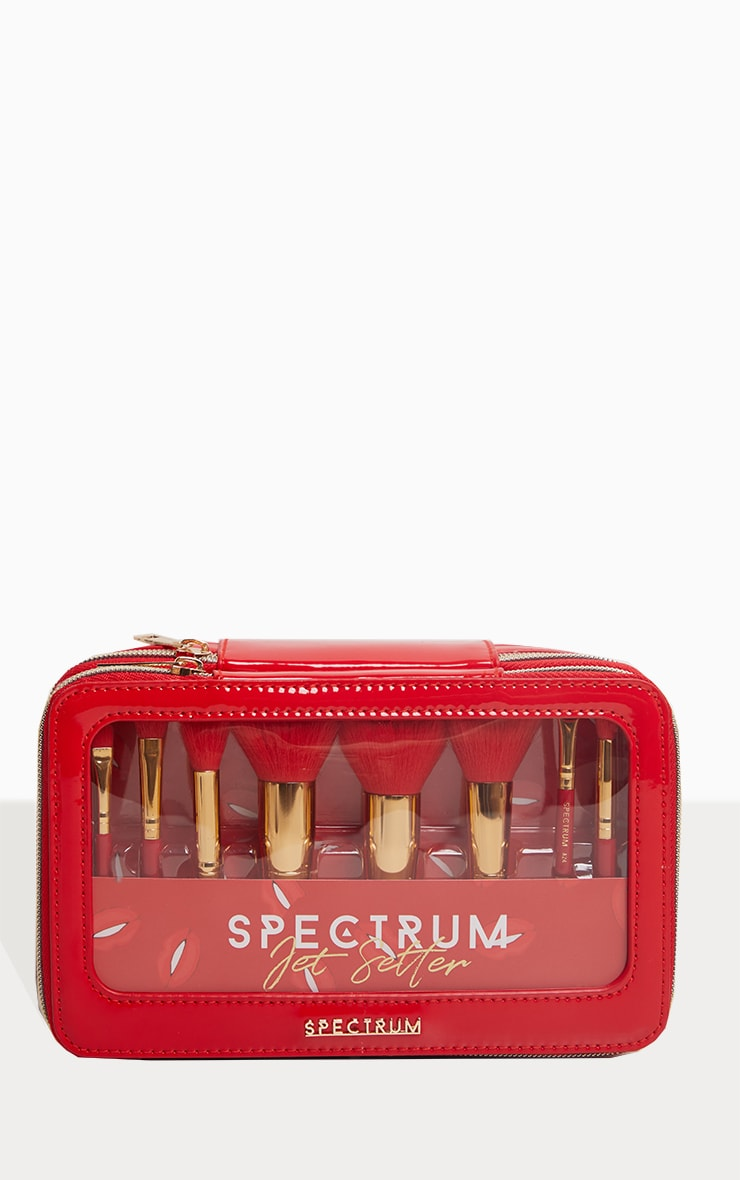 Spectrum Collections Red Jet Setter Travel Size 8 Piece Brush Set 2