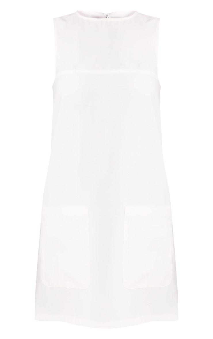 Madline White Pocket Detail Shift Dress  3