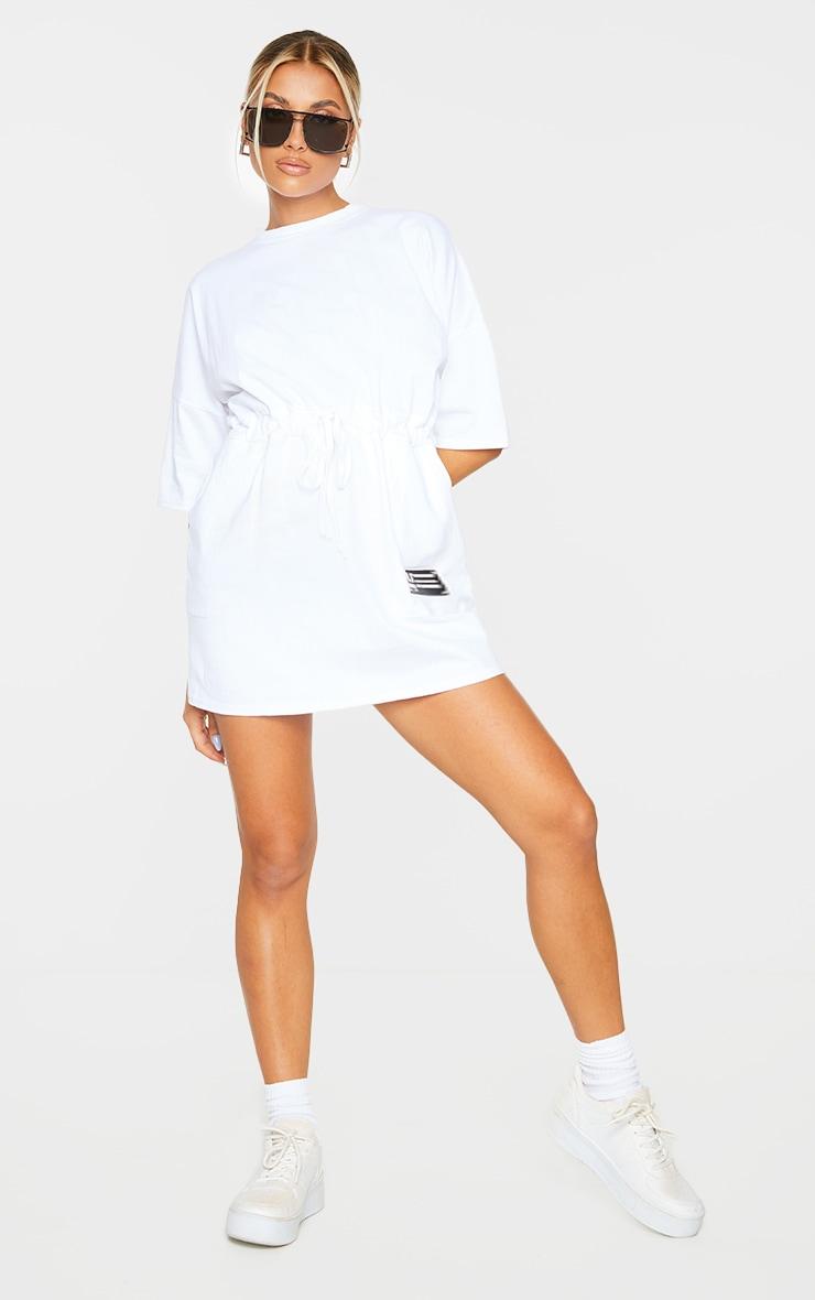 PRETTYLITTLETHING White Drawstring Waist T Shirt Dress 3
