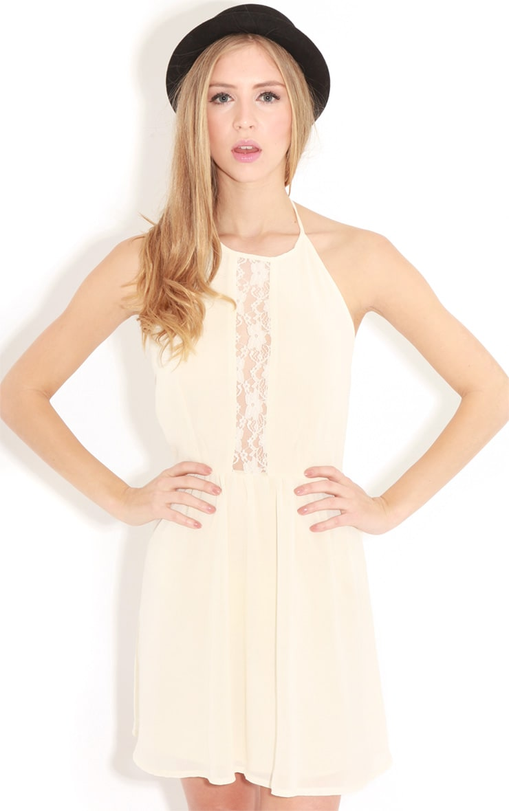 Lisa-Ann Cream Lace Panel Halterneck Dress 1