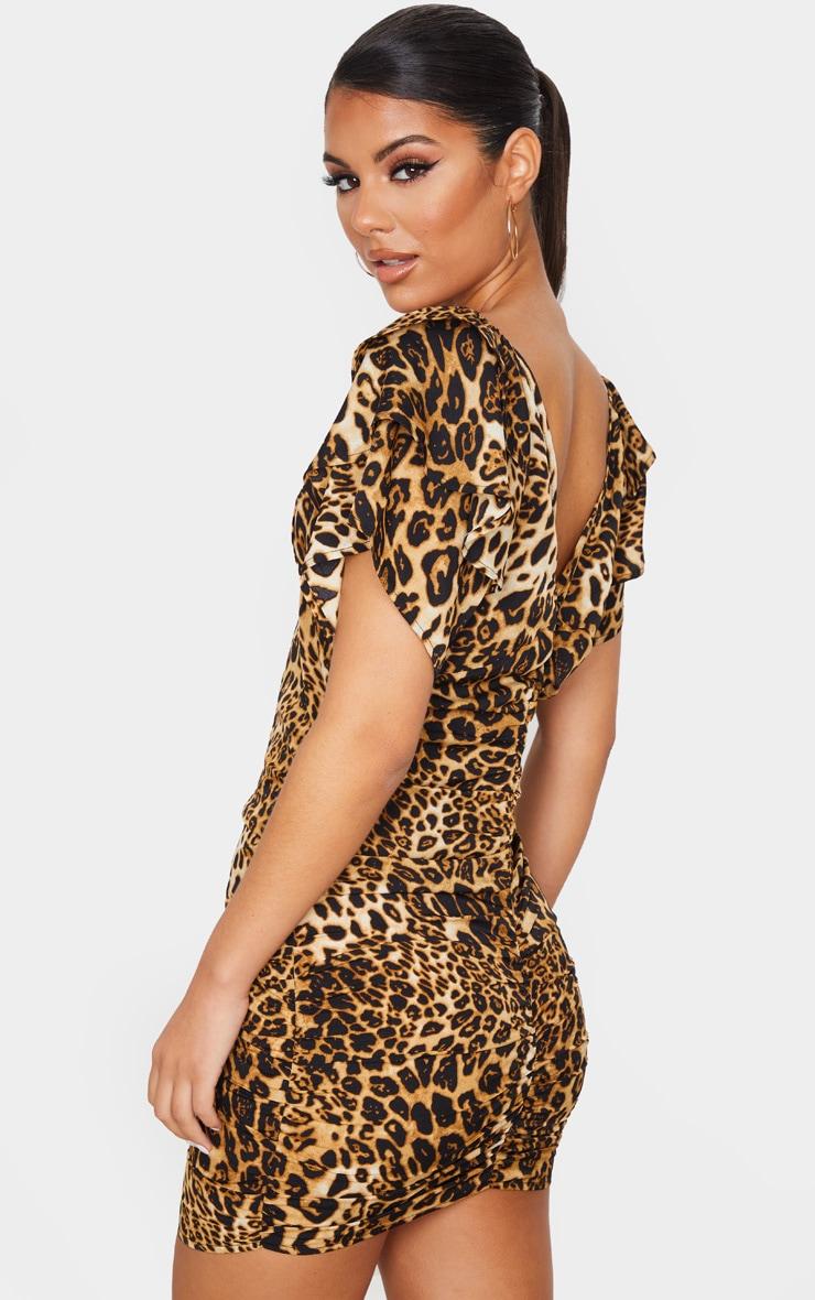 Leopard Print Off The Shoulder Ruffle Bodycon Dress 3