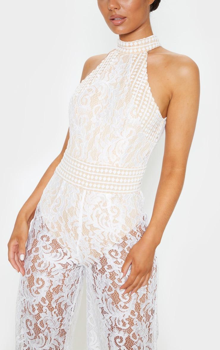 White High Neck Lace Jumpsuit 5