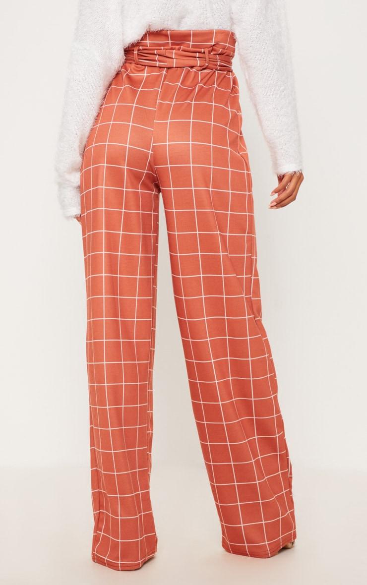 Rust Paperbag Waist Check Print Wide Leg Pants 4