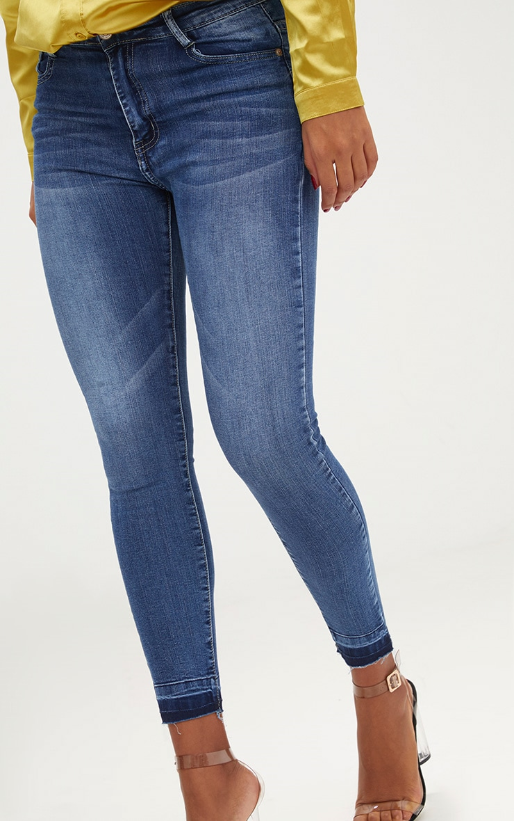 Mid Wash Contrast Hem High Waisted Skinny Jeans  5