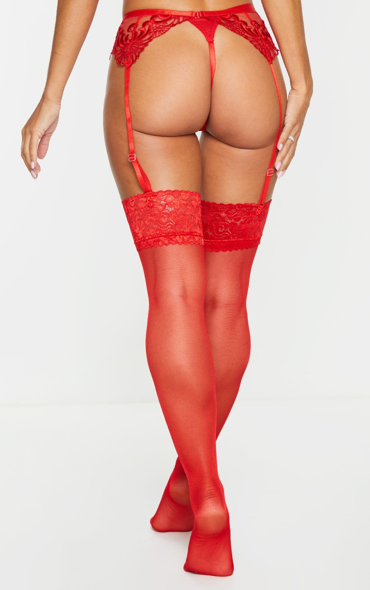 Red Embroidered Lace Suspender Belt 3