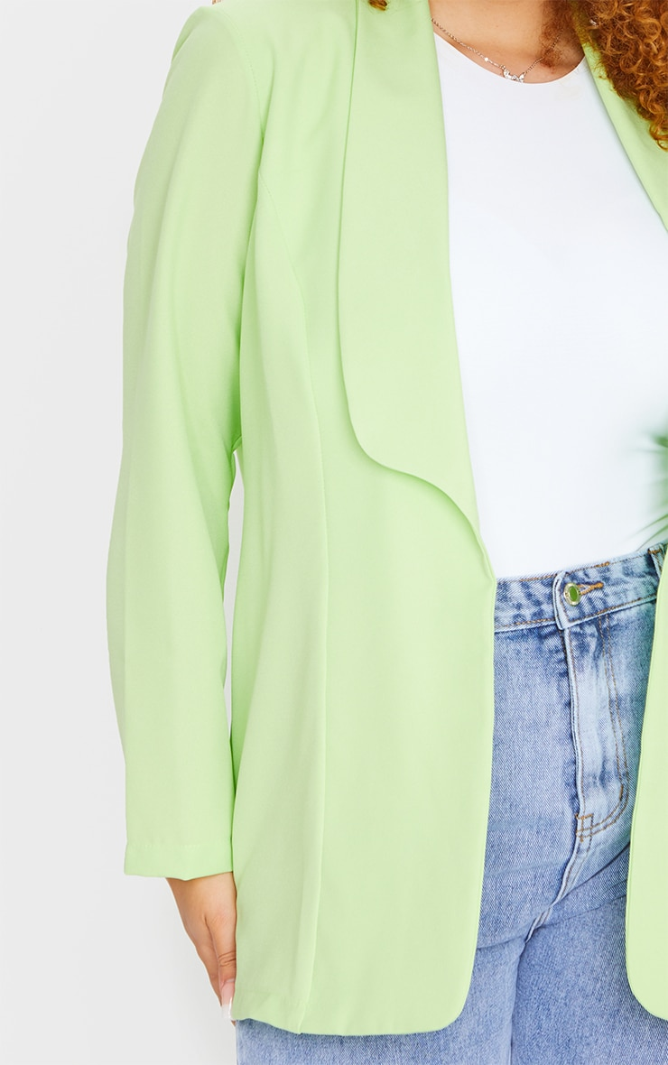 Plus Lime Curved Lapel Woven Longline Blazer 4