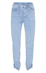 Light Wash Split Hem Jeans 1