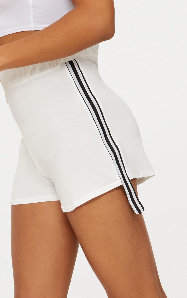 Cream Stripe Tape Trim Jersey Shorts 6