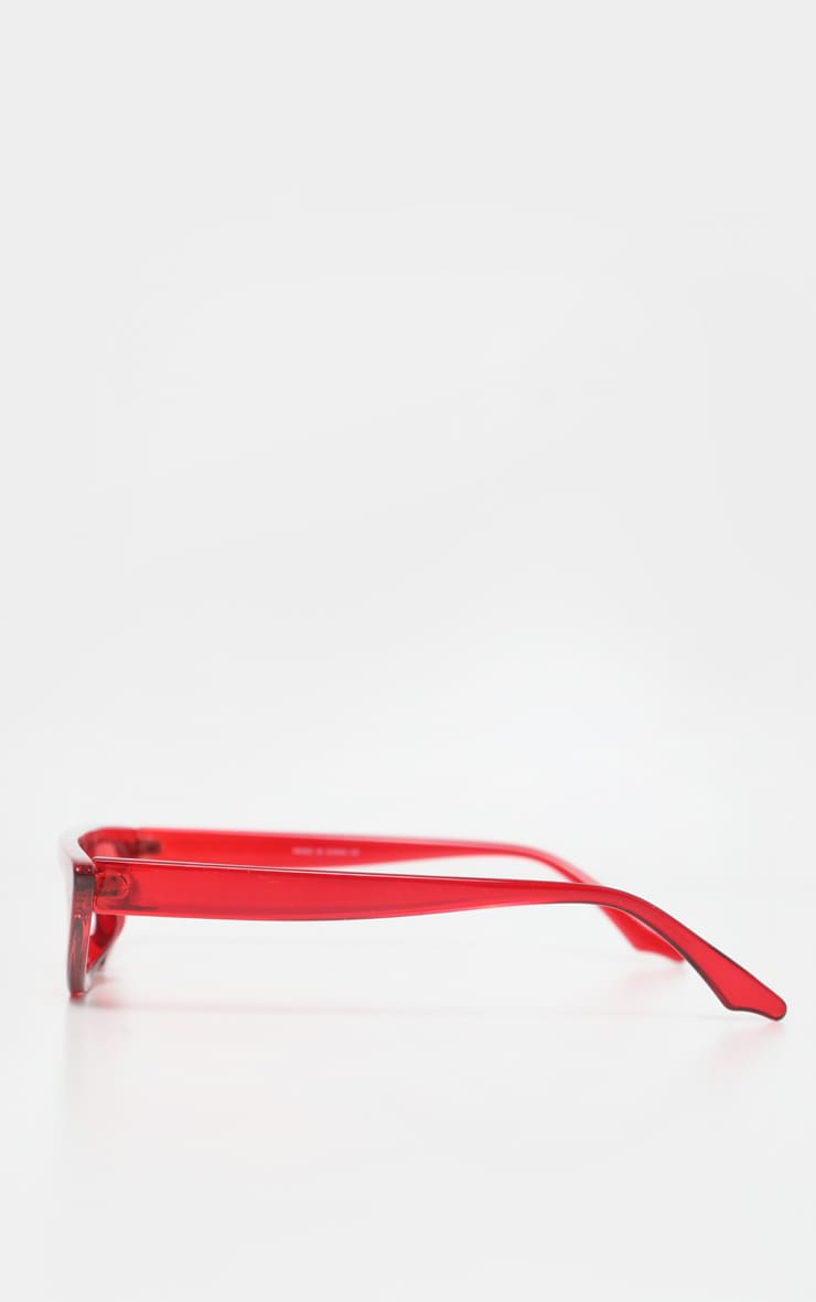 Red Flat Top Slim Cateye Sunglasses 4
