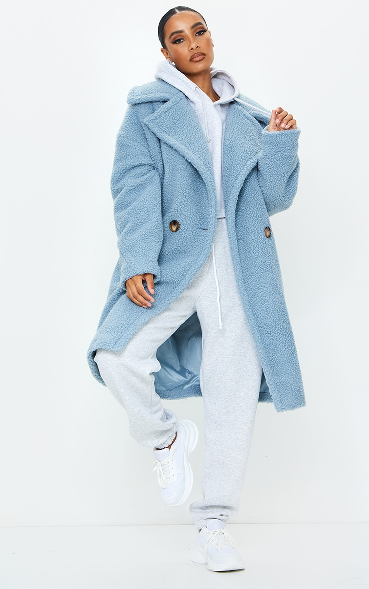 Dusty Blue Borg Drop Arm Midi Coat 1