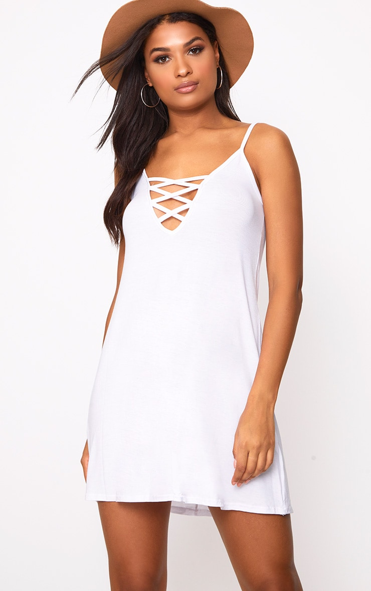 White Jersey Lace Up Front Detail Swing Dress 1