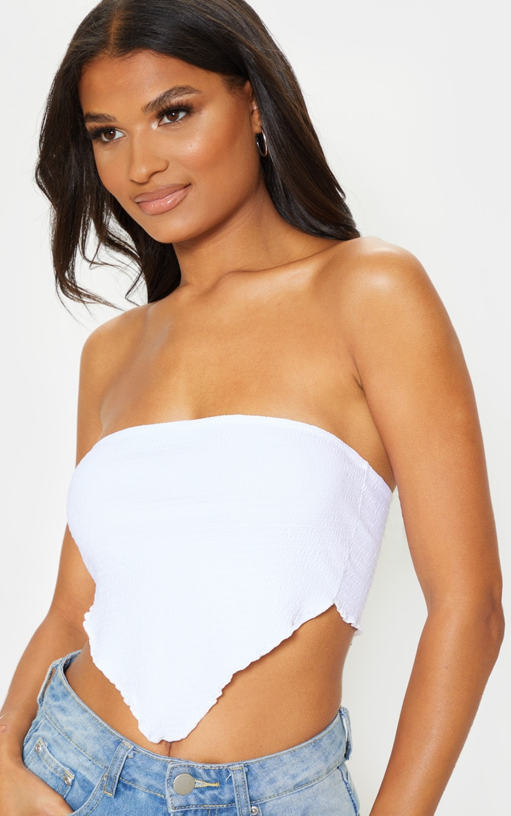 White Crinkle Handkerchief Bandeau Top 5