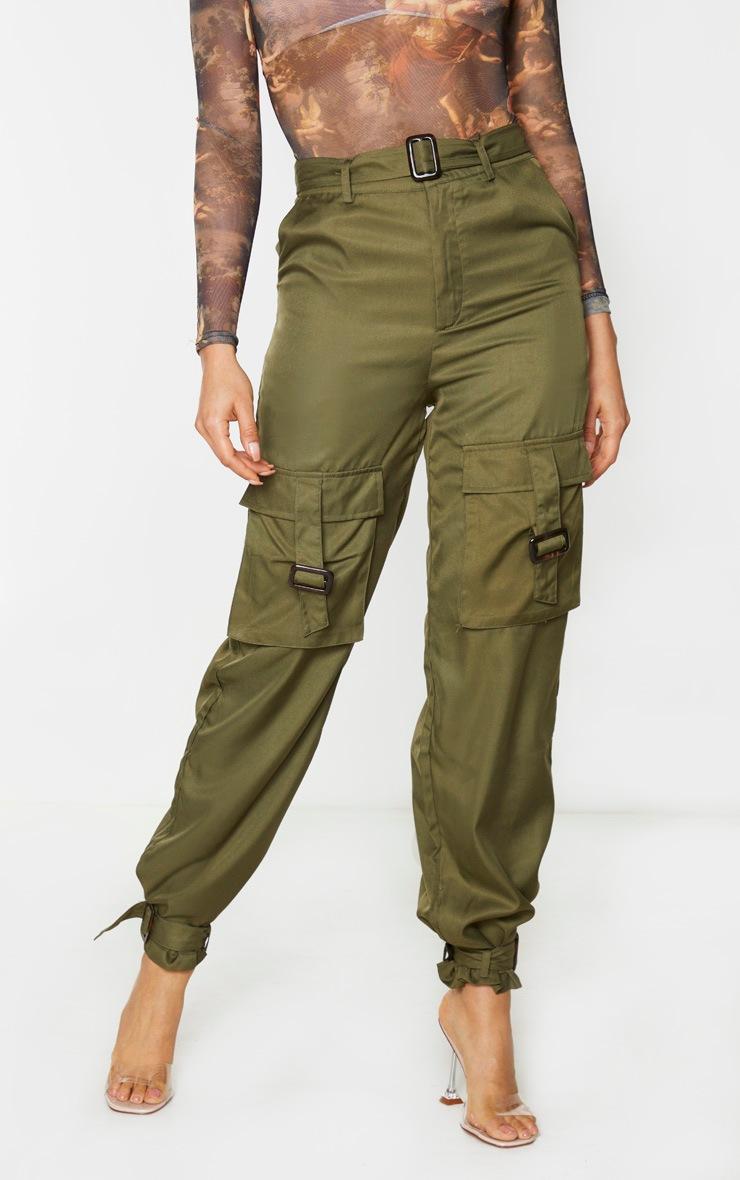 Tall Khaki Cargo Pocket Detail Buckle Pants 2