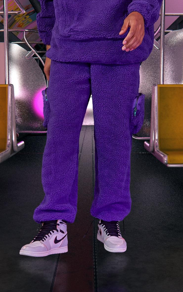 Purple Unisex Borg Joggers 3