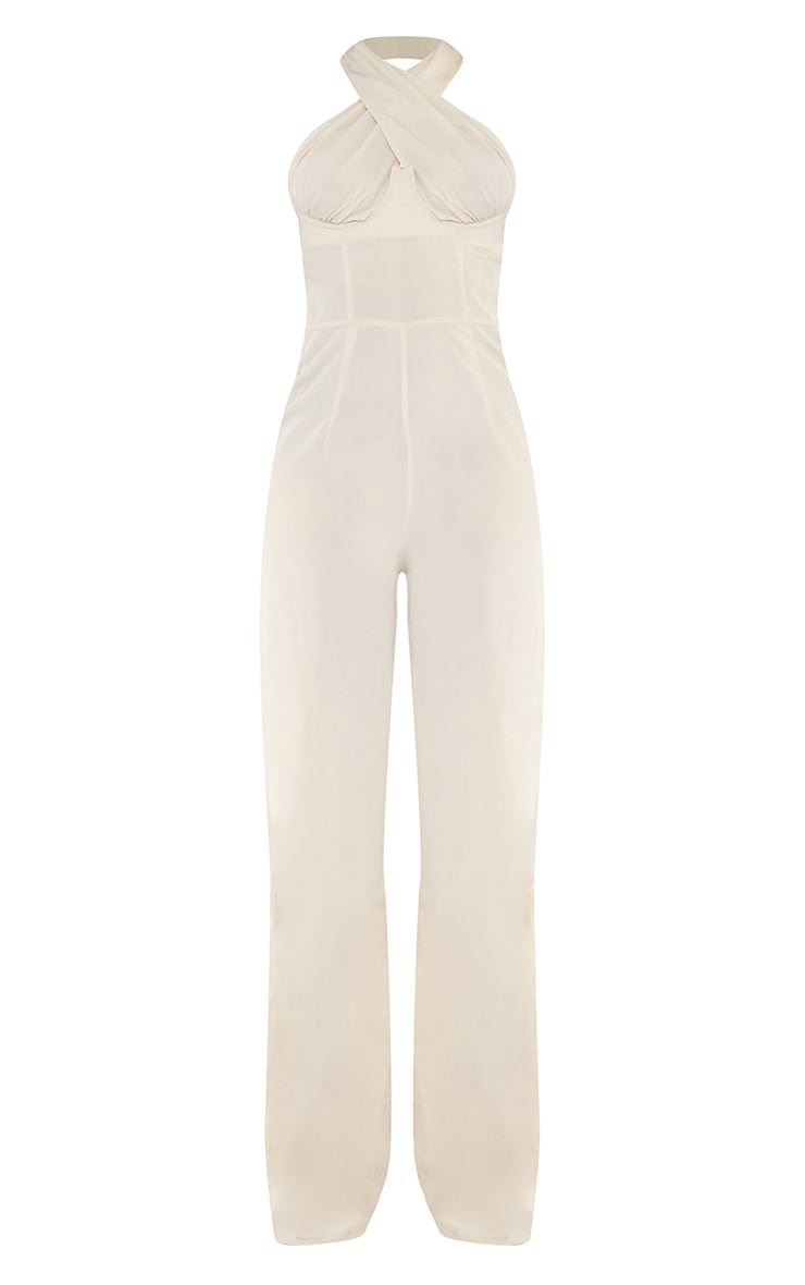 Tall  Stone Wrap Front Under Bust Wide Leg Jumpsuit 5