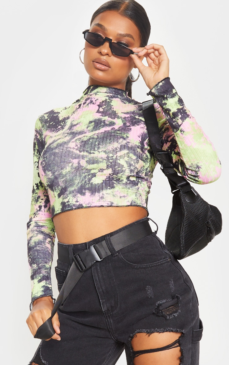 Multi Tie Dye Printed Rib High Neck Crop Top 4