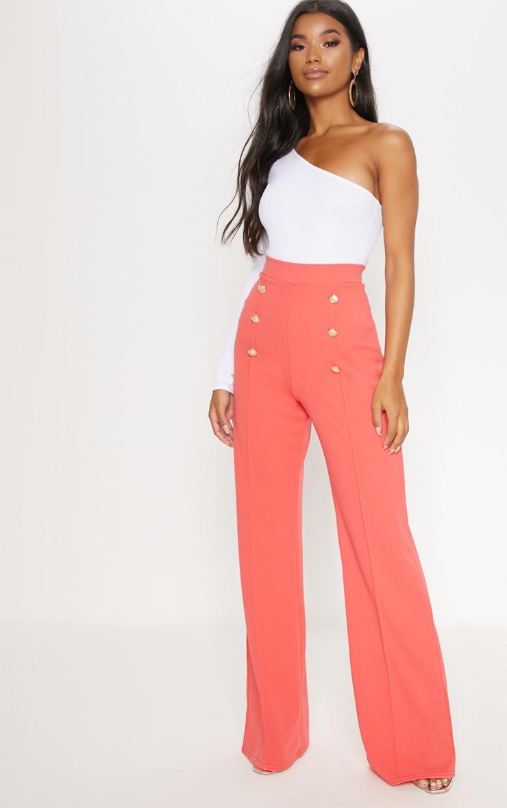 Coral Button Front Wide Leg Trouser