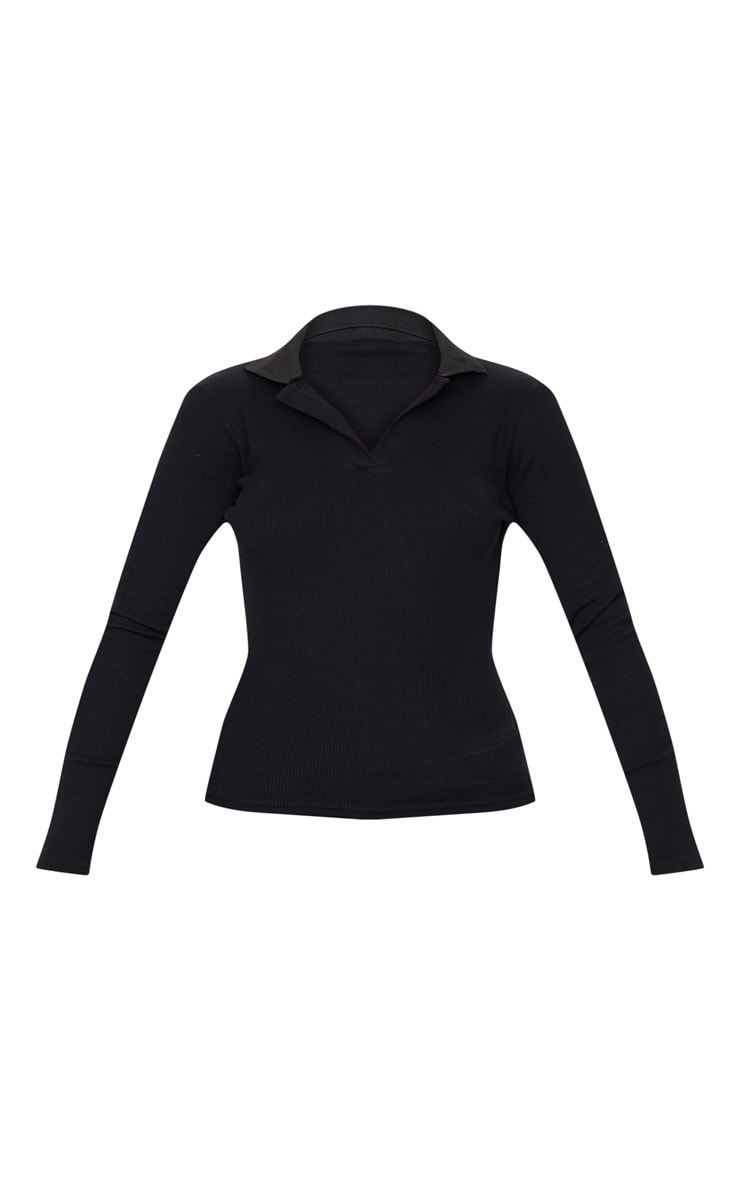 Black Rib Collar Long Sleeve Top 3