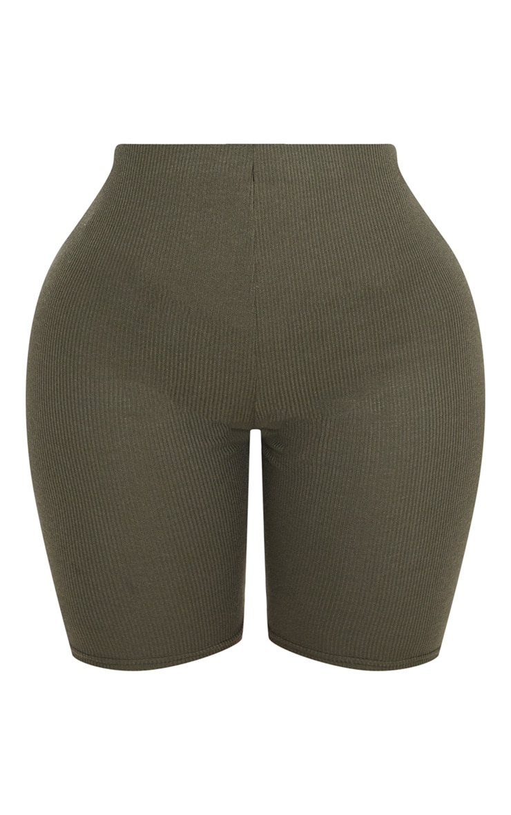 Shape Khaki Ribbed Cycling Shorts 3