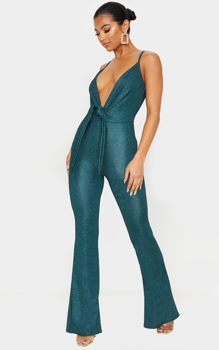 Emerald Green Glitter Knot Front Strappy Jumpsuit 4