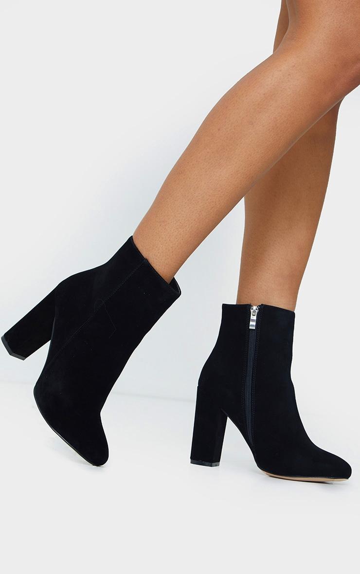 Black Wide Fit Behati Block Heeled Ankle Boot 1