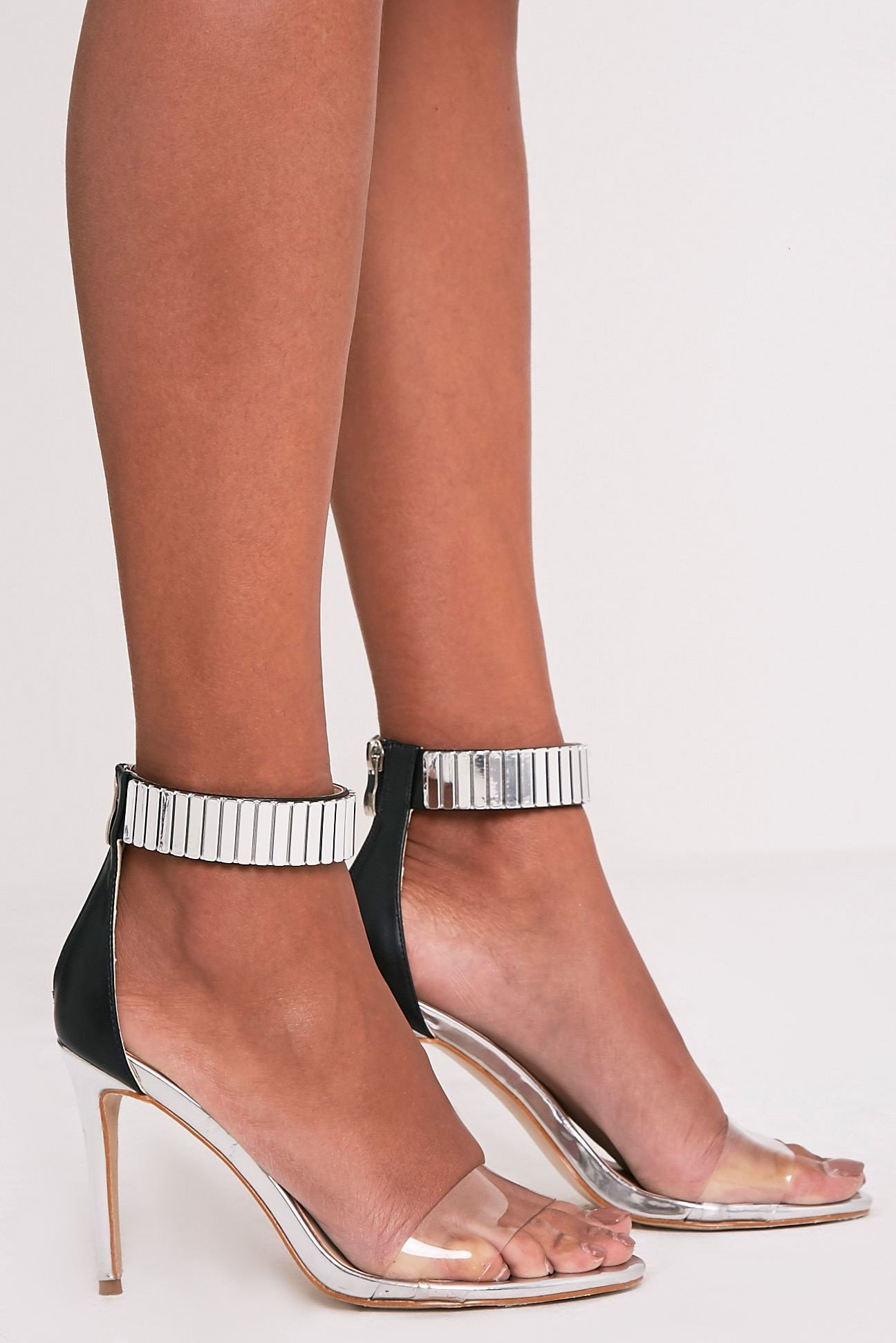 Christal Silver Metal Ankle Cuff Heeled Sandals 3