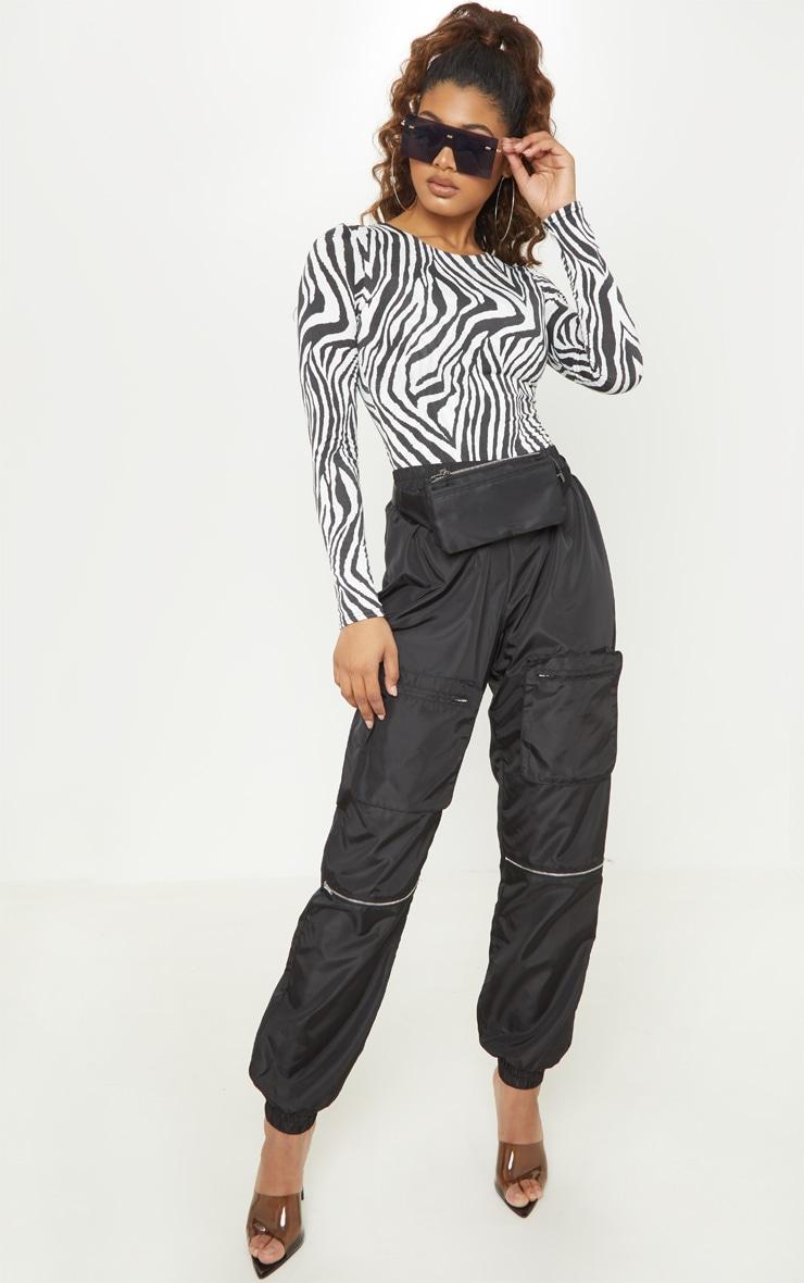 Tall White Zebra Print Slinky Long Sleeve Bodysuit 5