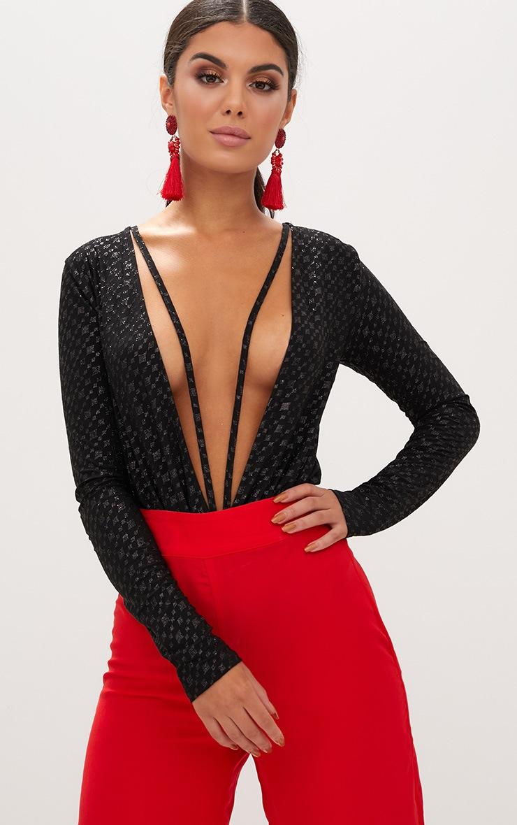 Black Sparkle Harness Longsleeve Thong Bodysuit 1