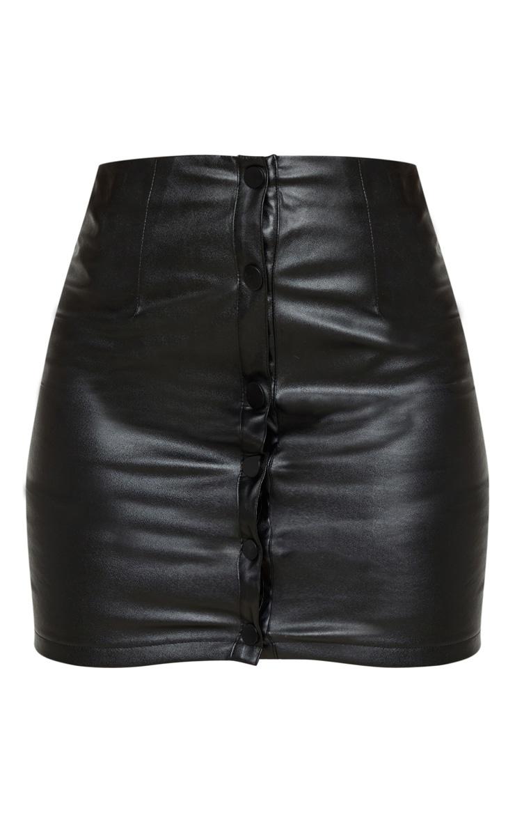 Petite Black PU Button Up Skirt 3