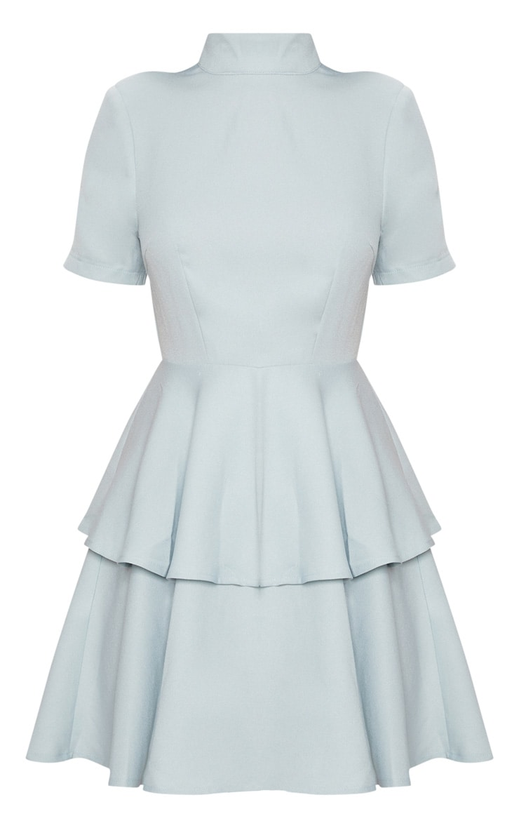 Dusty Blue Cap Sleeve Tiered Skater Dress 3