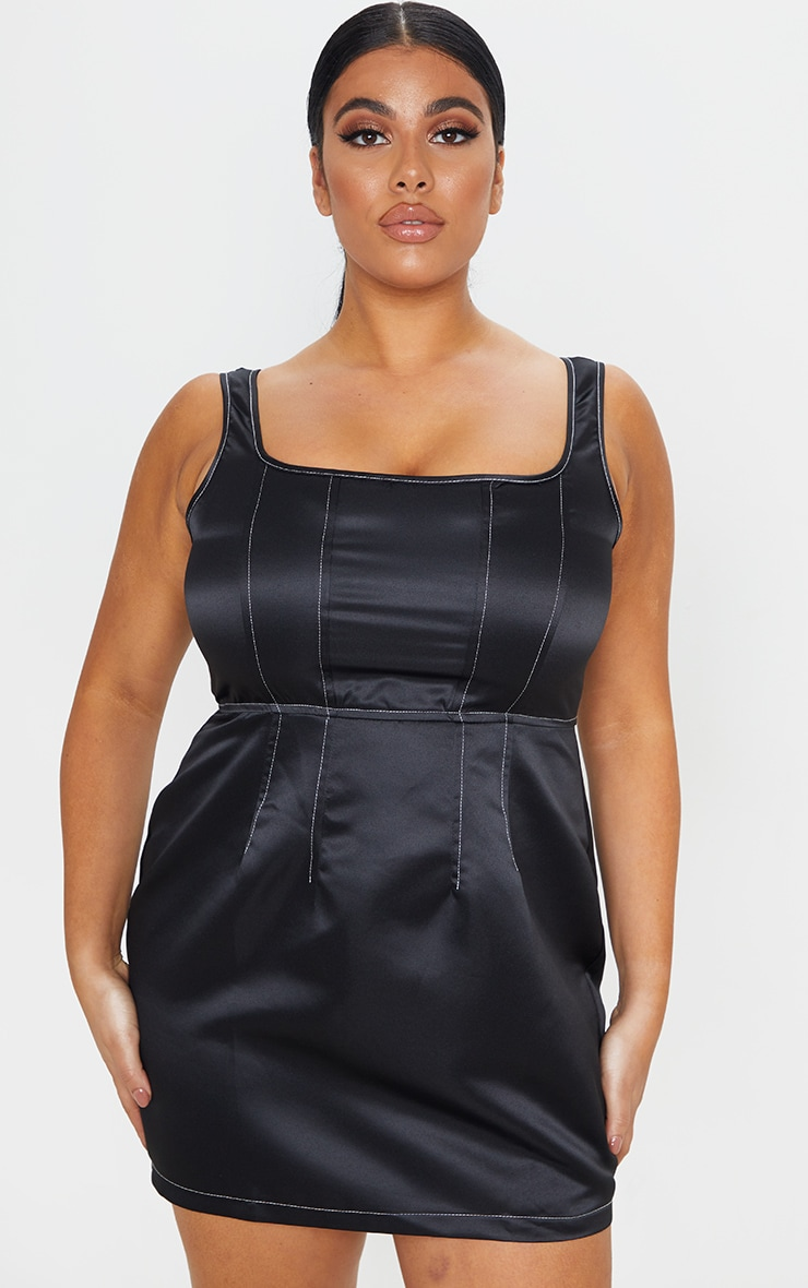Plus Black Contrast Stitch Skater Dress 1