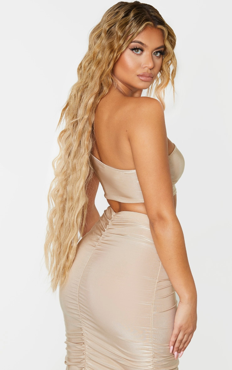 Camel Slinky One Shoulder Spaghetti Strap Crop Top 2