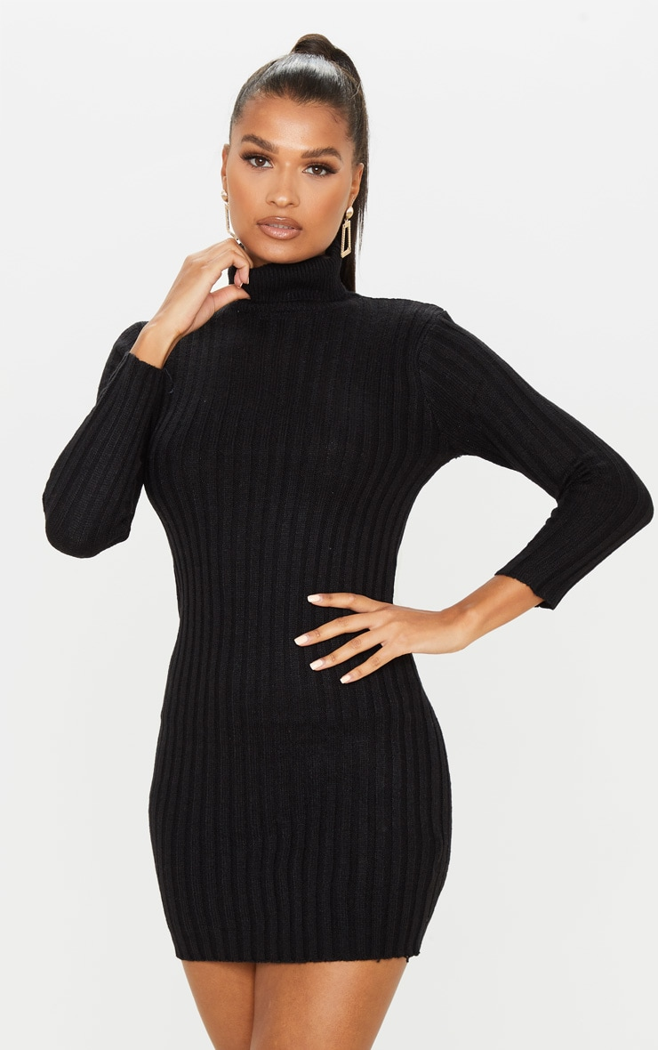 Black Roll Neck Knitted Sweater Dress 4