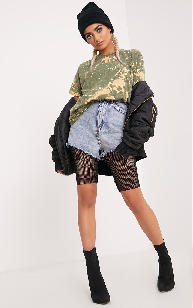 Jasmyn Khaki Extreme Bleach Contrast T Shirt 4