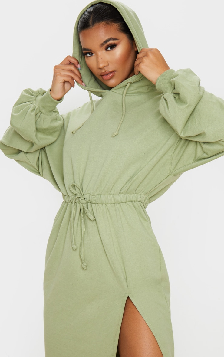 Sage Green Sweat Hoodie Split Midi Dress