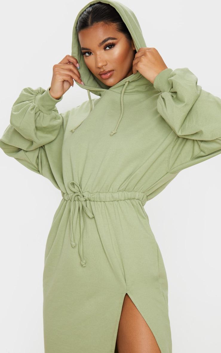 Sage Green Sweat Hoodie Split Midi Dress 5